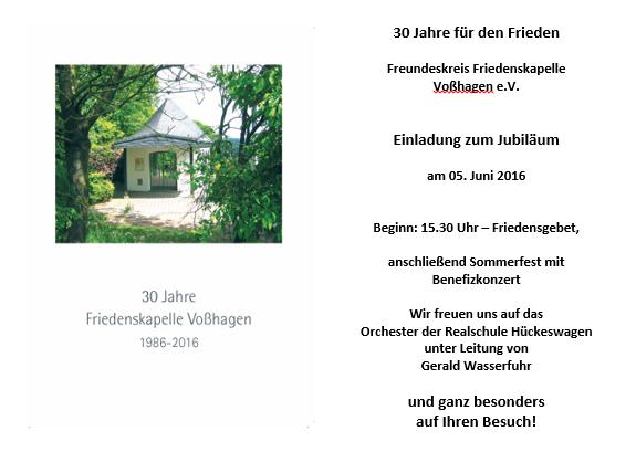 freundeskreis friedenskapelle vosshagen e.v. - freundeskreis, Einladung